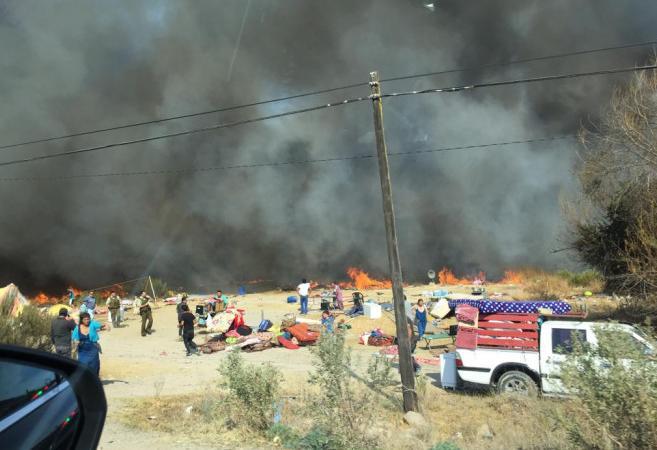 Incendio Forestal en la ruta D-55 provocó alerta roja durante este martes